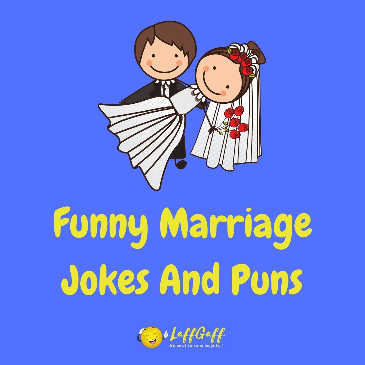 Featured image for a page of funny marriage jokes and puns.