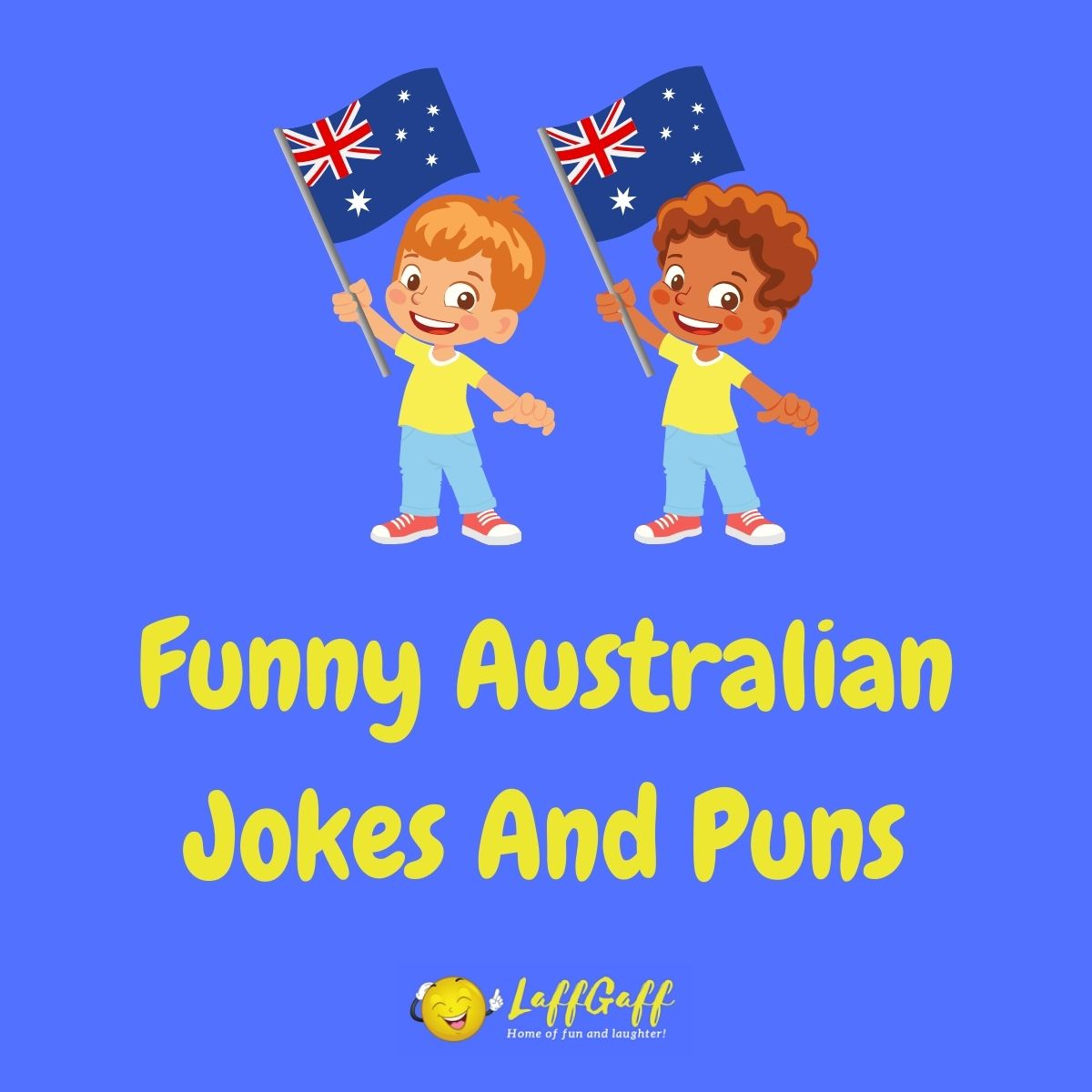 Featured image for a page of funny Australian jokes and puns.