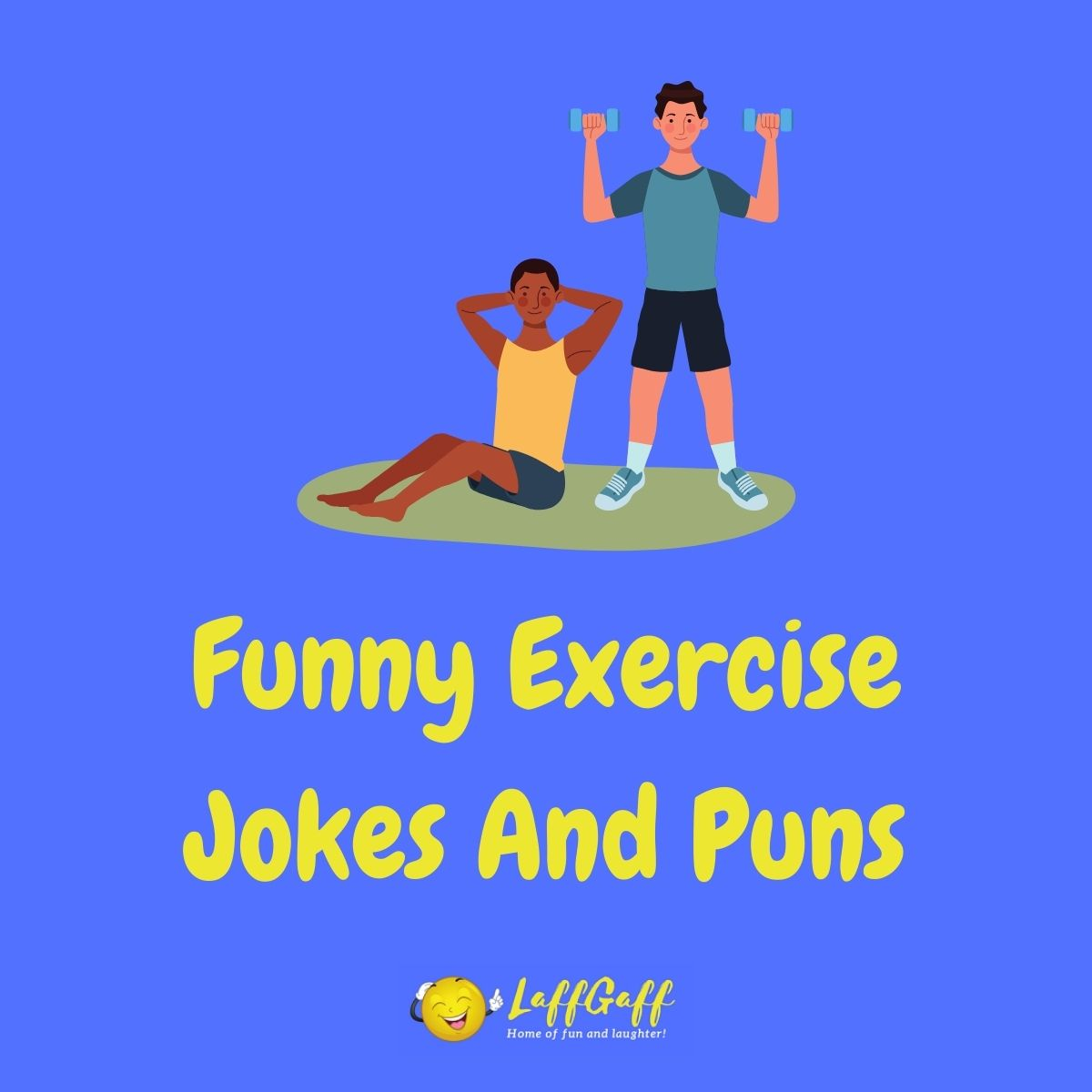 Featured image for a page of funny exercise jokes and puns.