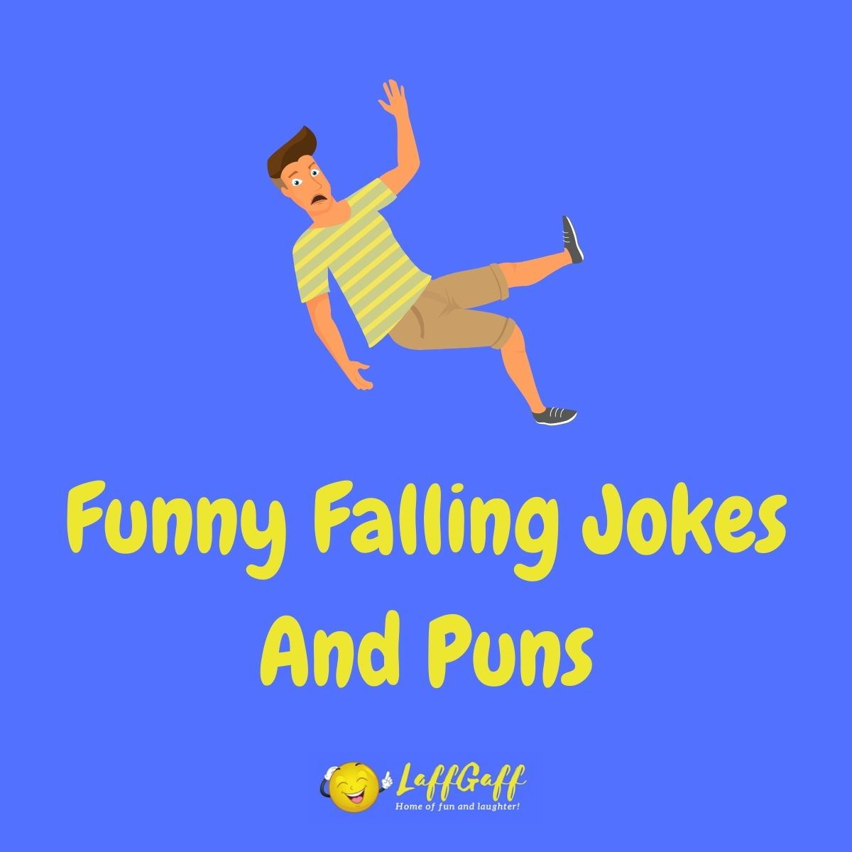 Featured image for a page of funny falling jokes and puns.