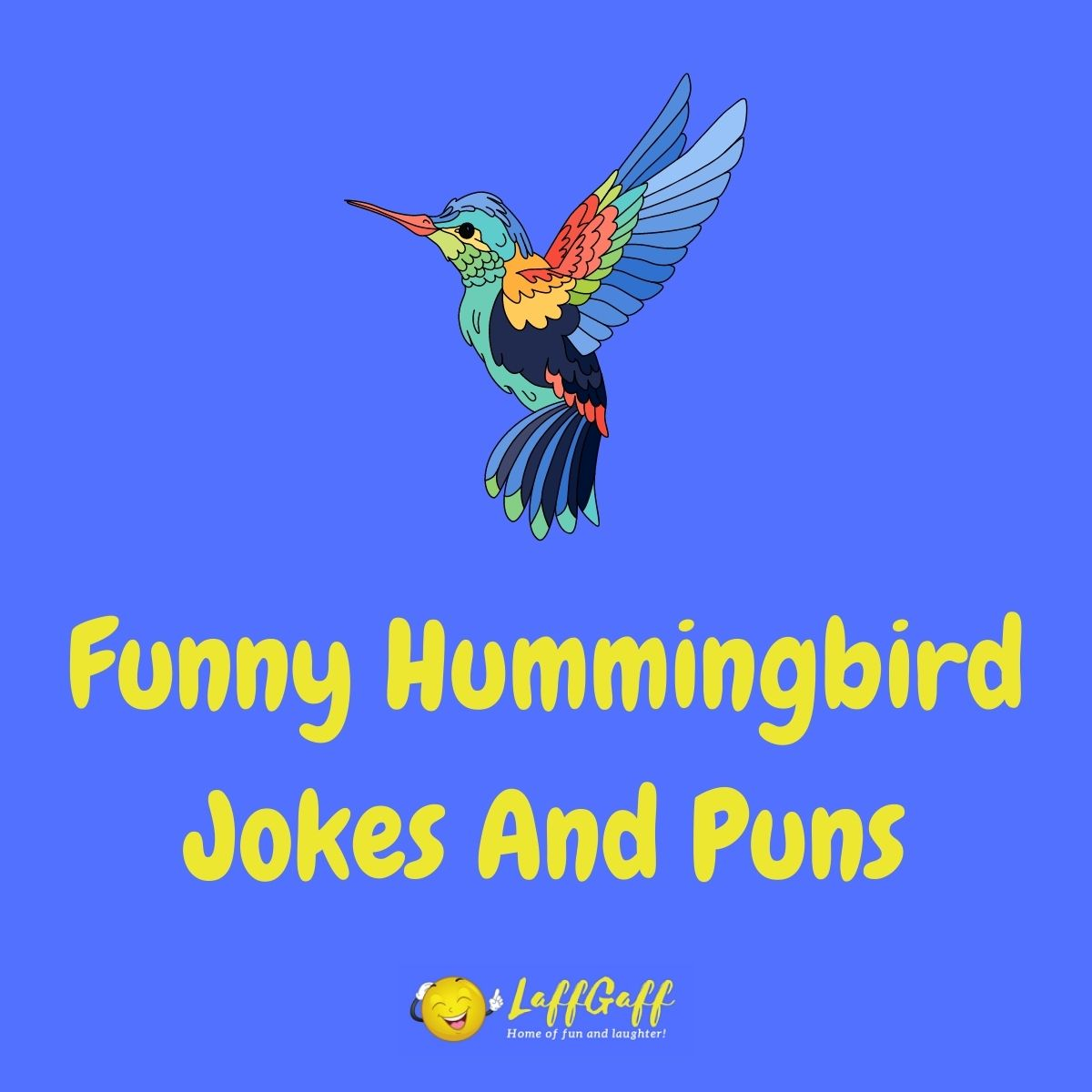 Featured image for a page of funny hummingbird jokes and puns.